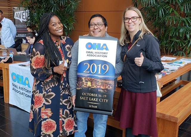 To the left of Carlos is Adrienne Cain of Baylor University, who us the co-chair of the Program Committee for 2019, and to the right is Allison Tracy-Taylor, OHA Vice President.